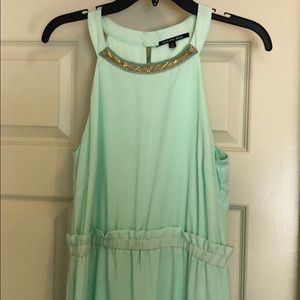 Mint maxi dress with gold detailing